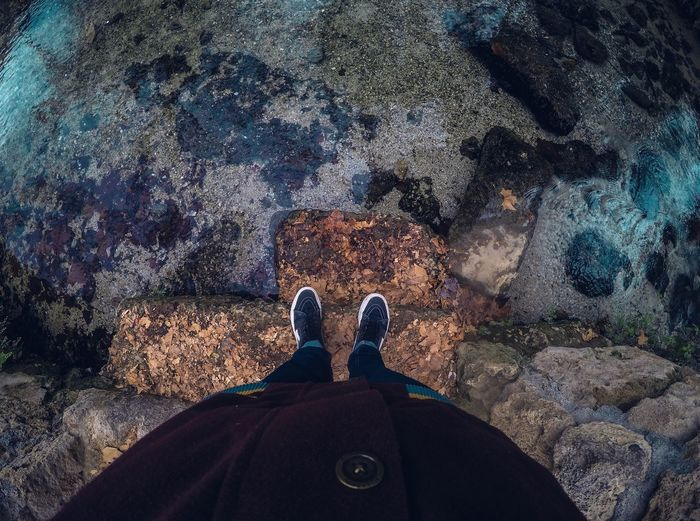 A los pies del lago EyeEmNewHere EyeEm Ready   People Human Body Part Outdoors Nature Water Men Human Leg Standing Day Rock - Object Low Section One Person Real People High Angle View Gopro Lake Landscape