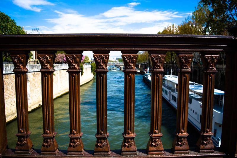 Bridge Pont Seine Paris River Fence Sky Blue