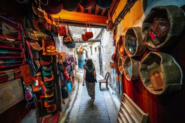Leathery Fes Morocco Medina Medina De Fez Fes Morocco Ancient Real People Adult Full Length Lifestyles Men Walking Architecture Women Rear View Built Structure Standing Indoors  Leisure Activity Day Casual Clothing Market Retail Display
