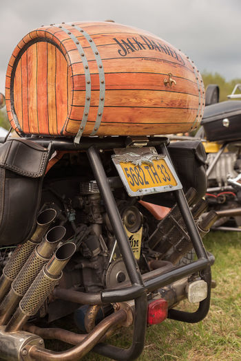 Abundance Berrel Bourbon Cask Close-up Day Deterioration Field Grass Hay Machine Part Machinery Mode Of Transport Motorcycles No People Obsolete Old Outdoors Run-down Rural Scene Sky Stationary Trike Whisky