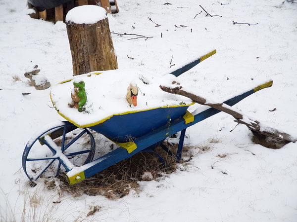Outdoors Garden Garden Equipment Garden Photography Wintertime Gardening Backgrounds Holiday Background Winter Holiday Frost Snowfall Wheelbarrow With Snow Wheelbarrow Garden Wheelbarrow Pushcart Garden Love Winter_collection Winter