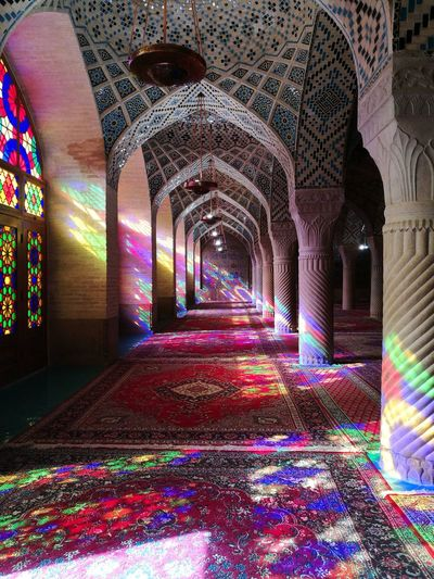 Nasir al-molk Mosque (Pink Mosque) in Shiraz, Iran Multi Colored Architecture Traveling EyeEm Travel Tourism Irantravel Iran Iran♥ Middleeast Architecture Mosque Mosque Photography Mosque Interior Mosque Architecture Mosques Of The World Sunlight And Shadow Sunlight Reflection
