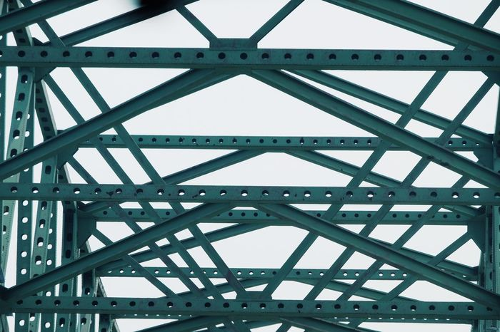 Architecture Backgrounds Bridge - Man Made Structure Built Structure Connection Day Engineering Girder Metal Modern No People Outdoors Pattern Railroad Bridge Railway Bridge Sky Transportation