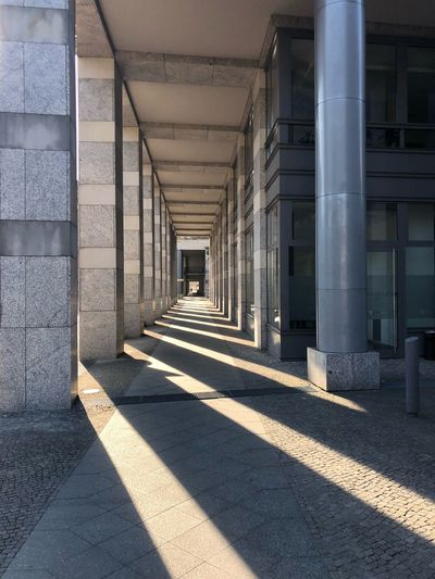 Lightstreams Architecture Built Structure Corridor Arcade Architectural Column The Way Forward Sunlight Building No People Day Shadow Outdoors In A Row Summer In The City