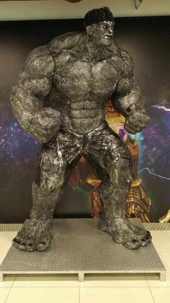 An artistic expression of the Hulk, made from motorbike parts and nuts in Penang. Statue Art Piece Creative Design