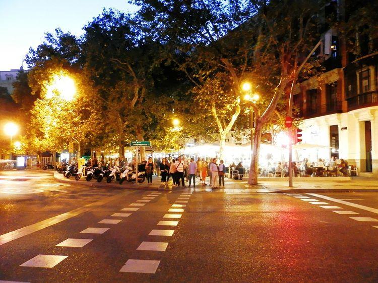 Large Group Of People Illuminated People Outdoors City Night Madrid Spain Madrid Life City Street