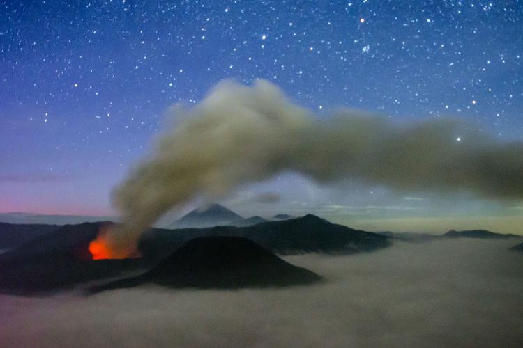 eruption Astronomy Galaxy Star - Space Milky Way Space Sand Dune Sand Desert Sky Landscape Star Trail Star Field Volcanic Landscape Volcano Active Volcano Bromo-tengger-semeru National Park East Java Province Volcanic Rock Lava Erupting Volcanic Activity Volcanic Crater Star