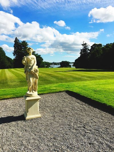 Lough Rynn Ireland🍀 Ireland Plant Sky Tree Human Representation Sculpture Representation Art And Craft Statue Grass Nature Cloud - Sky Sunlight Day No People Male Likeness Shadow Field Green Color My Best Travel Photo EyeEmNewHere