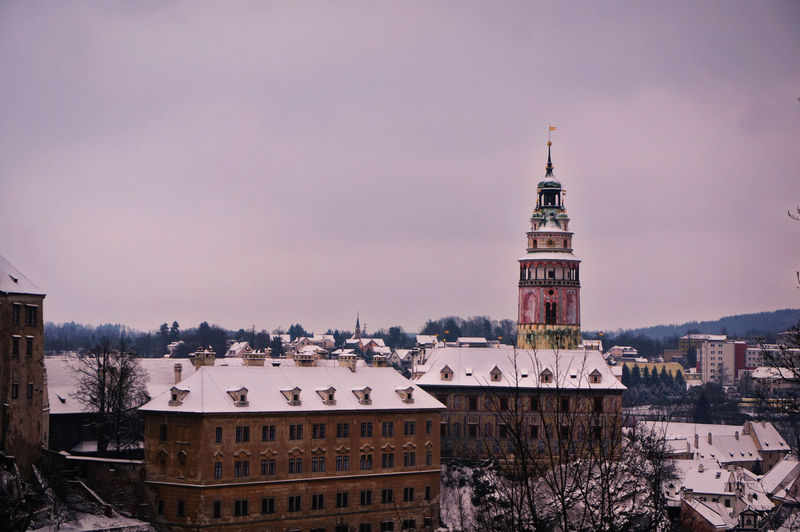 View Of Tower In City During Winter
