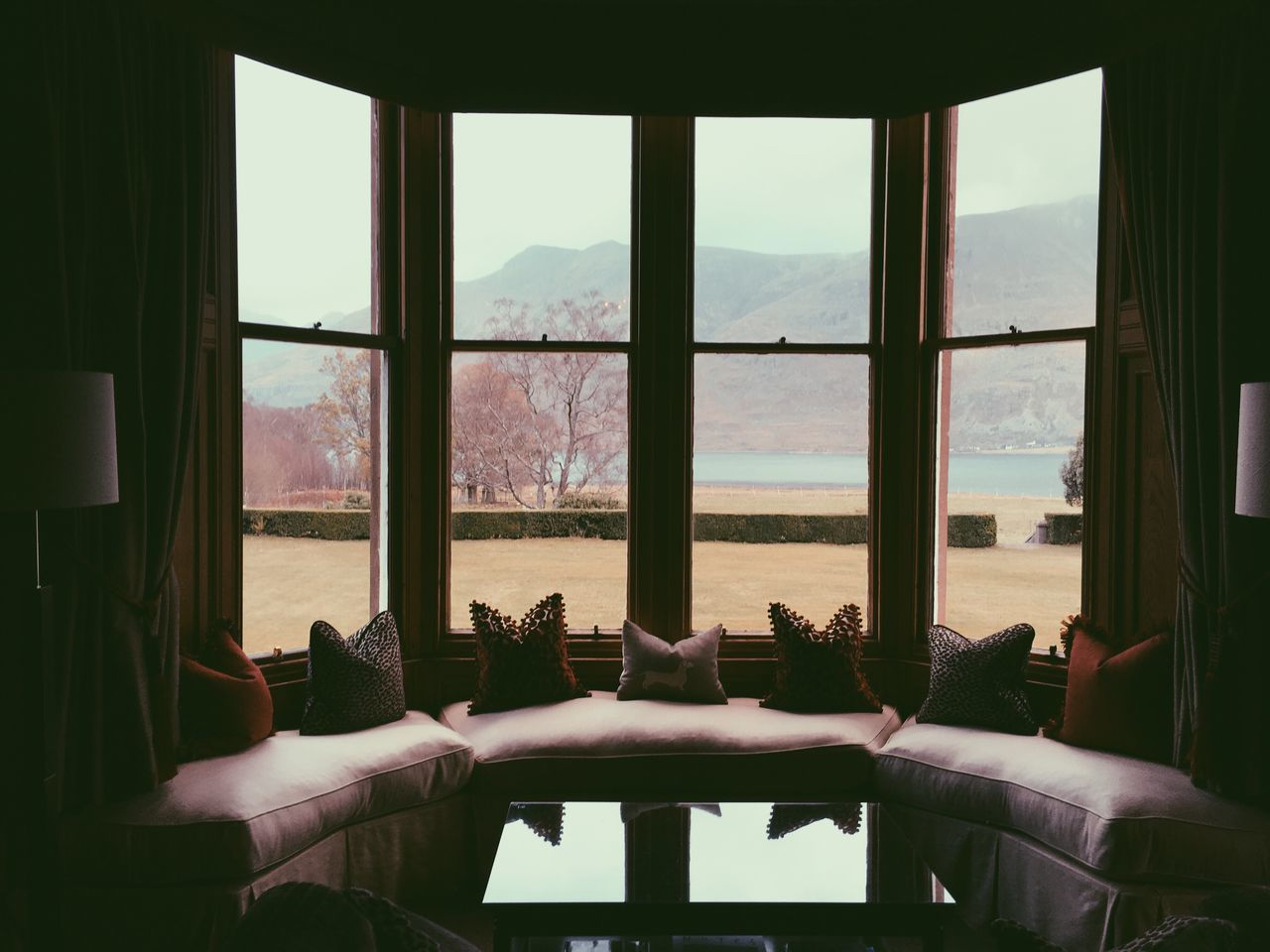 window, indoors, relaxation, day, water, nature, sky, architecture, no people