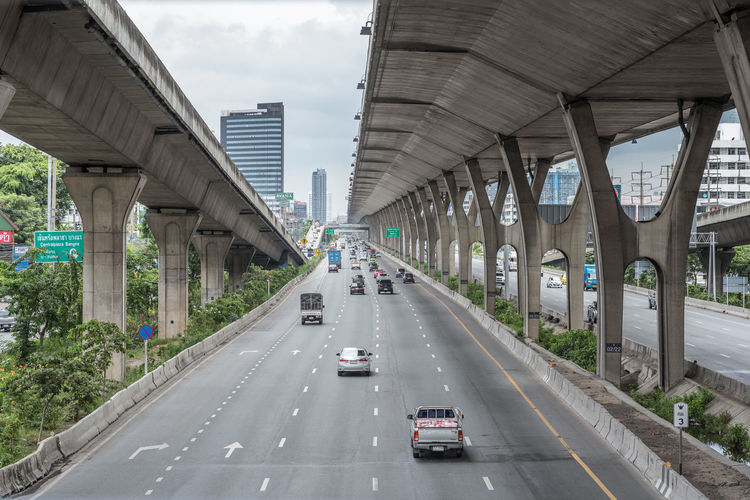 Cars on highway in city