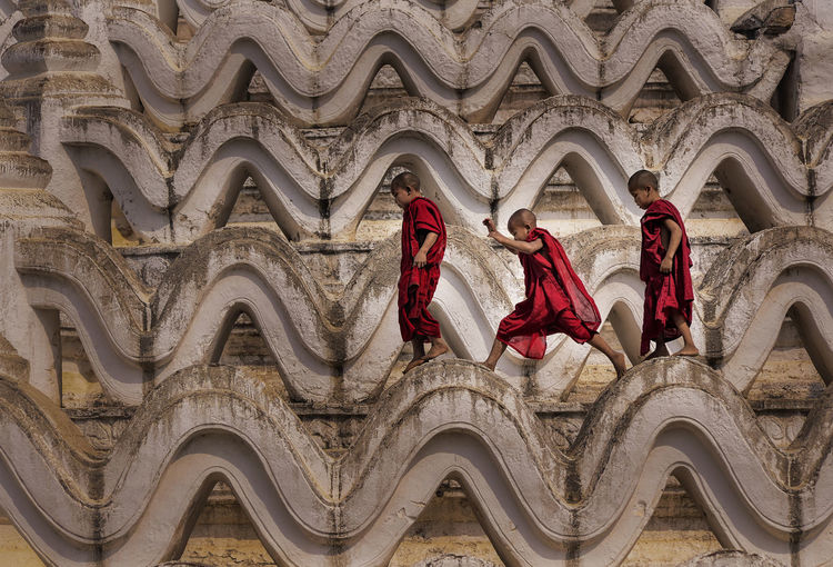 Monks walking on temple