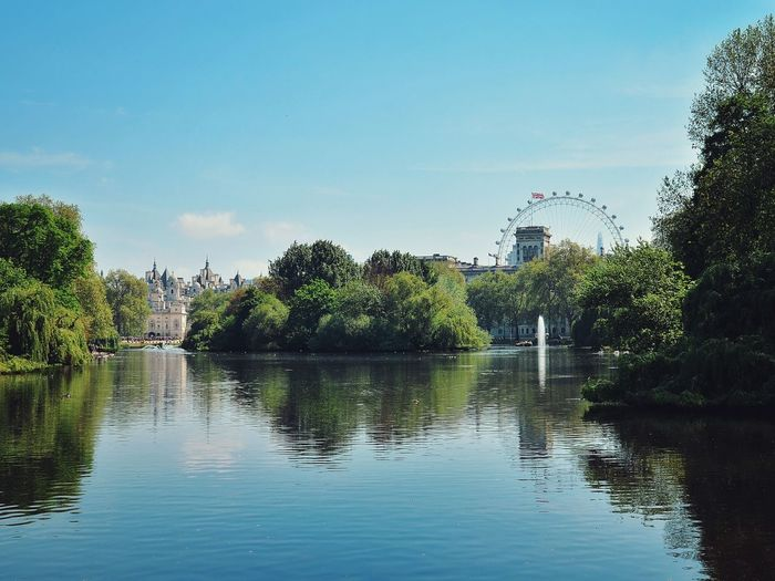 Water Blue Bridge London Sky Lake Outdoors Horse Guards  Nature Leisure Activity Beauty In Nature London London Lifestyle London Eye Landscape London Nature Park London Park Summer Londoncity Sun Travel Trip London Trip St James Park  St James Park London  St James's Park