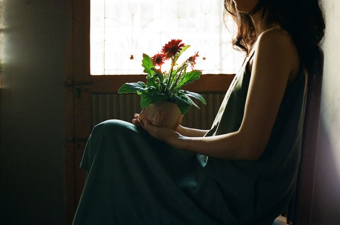 flower lady Film Saigonese Filmphoto Analogphoto Girl Flower Standing Young Women Home Interior Women Domestic Life Window Curtain Close-up Growing Flower Pot First Eyeem Photo