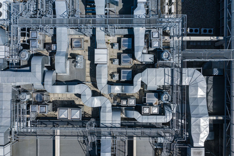Aerial view of industrial pipeline