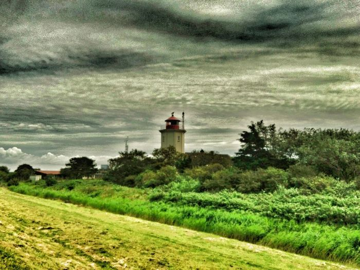 Lighthouse Built Structure Architecture Cloud - Sky Grass Sky Tree Nature Field Green Color Day Building Exterior Tranquility Water No People Growth Outdoors Beauty In Nature Sea Scenics
