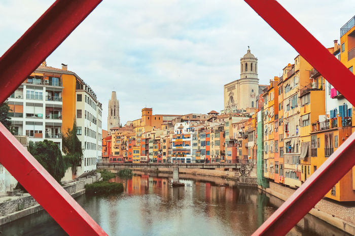 Catedral De Girona Cathedral City Cityscape Colors Girona Girona Cathedral Iron Bridge River View Architecture Building Exterior Built Structure Canal City Colorful Day Eiffel Bridge Iron - Metal Moored No People Outdoors Pont De Ferro River Sky Water