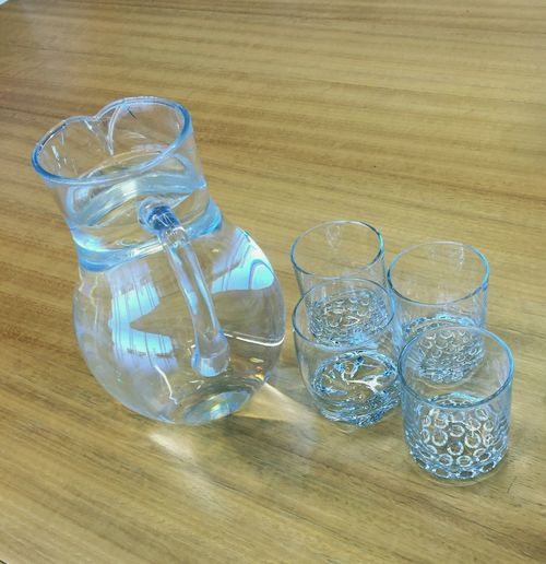 Water Jugs Glasses Or No Glasses? Drinking Glass Everything In Its Place Thirstquencher Meeting Room Not Enough Time