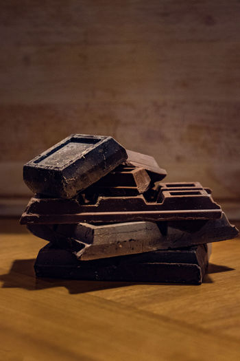 Chocolate peaces and wood