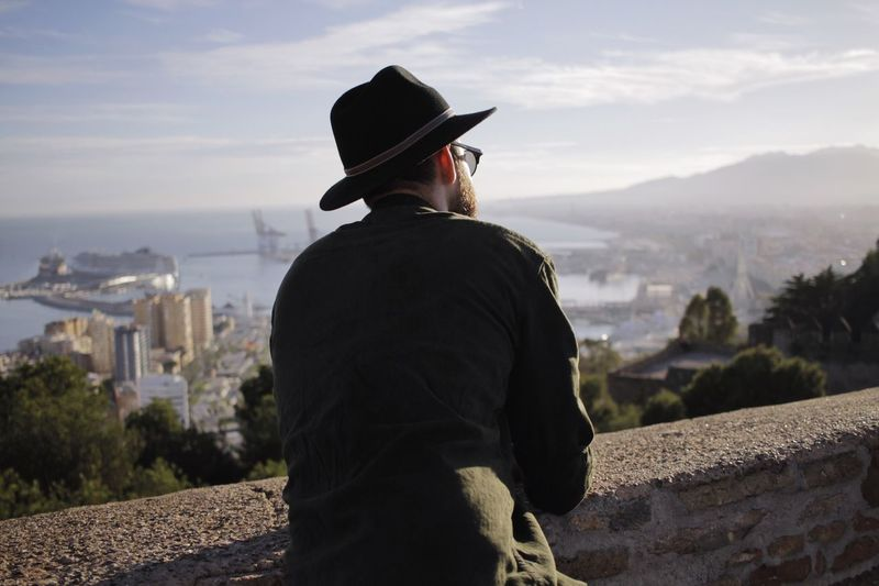 Rear view of man looking at cityscape and bay