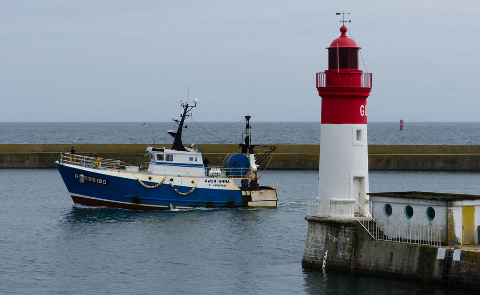 Boat Bretagne Fisherman Guilvenec Harbour Lighthouse Nautical Vessel Sea