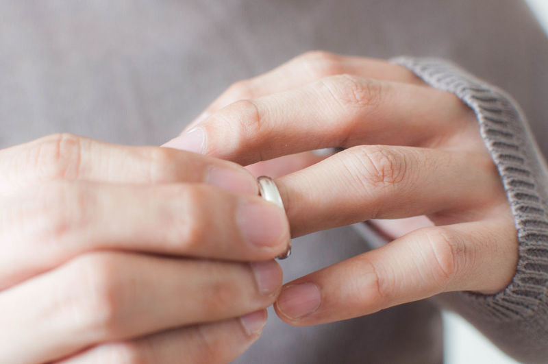Close-up of woman holding wedding ring