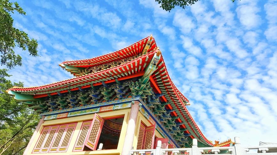 Blue Sky Architecture Cloud - Sky Cultures Red Outdoors Travel Destinations Tradition Building Exterior No People Day Tree Travel In Thailand EyeEm Gallery Thailand Photos Travel