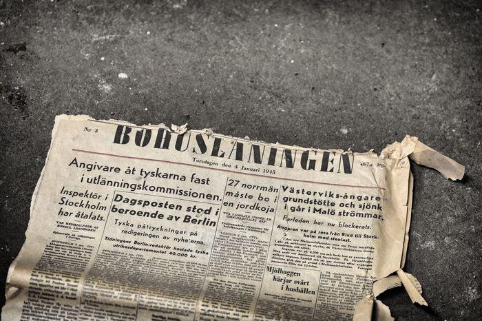 Old Newspaper Tidning 1945 Taking Photos FUJIFILM X-T1 XF50-140mm Kungshamn Bohuslaningen Photography Ww2