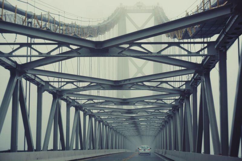 Car On Chesapeake Bay Bridge During Foggy Weather