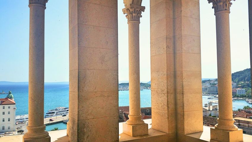 Split Croatia Architecture Built Structure No People Tourism Scenics Travel Destinations Horizon Over Water Outdoors Sky Beach Sea Architectural Column Columns Cielomania Bluesky Viewfromthetop City Summer Vibes Beautifulday Seethrough Seethru View From Above Vertigo EyeEmNewHere