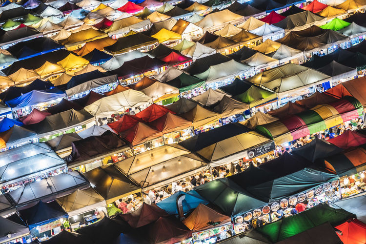 High angle view of multi colored tents