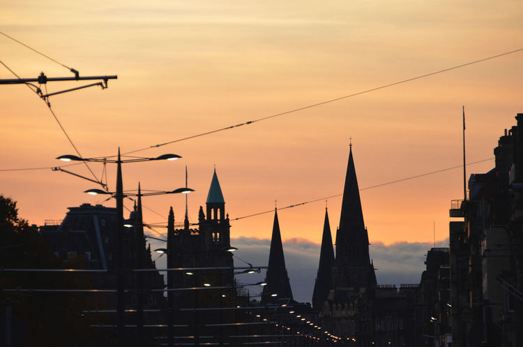 Architecture Building Built Structure Cable Capital Cities  City City Life Edinburgh Orange Color Power Line  Princes Street Silhouette Silohuette Sky Spire  Spires Sunset Tourism Travel Destinations