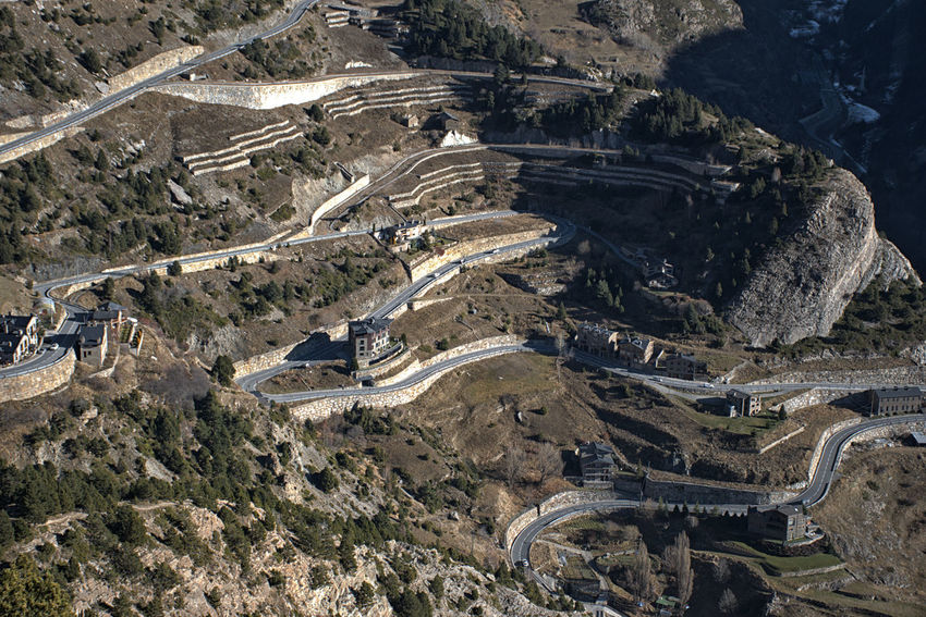 Mountain road in Andorra. High Angle View Environment Landscape Transportation Sunlight Aerial View Tranquil Scene Road Outdoors Mountain Mountain Road Infrastructure Pyrenees Pyrenees Mountains