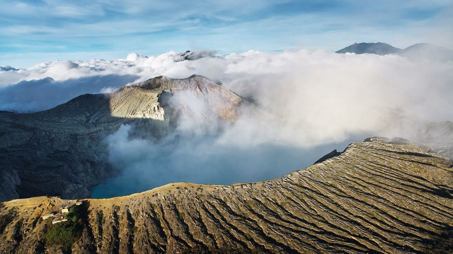 EyeEm Best Shots EyeEm Selects Vulcanic Landscape Aerial View Aerial DJI Mavic Pro Ijen Kawah Ijen Vulcano Beauty In Nature Geology Scenics - Nature Nature Mountain Landscape Land Sky Cloud - Sky Environment No People Rock Solid Rock - Object Non-urban Scene Day Physical Geography Outdoors Power In Nature