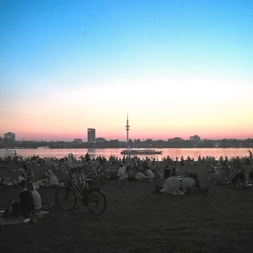 Sunset Scenics Orange Color Outdoors River Clear Sky People People Together Picnic Sunset_captures TV Tower Hamburg Alster View Alster Außenalster Afterwork