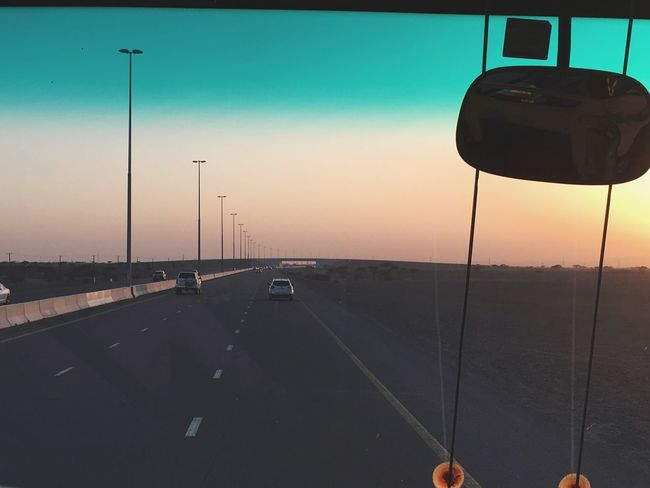 Roads..still to go Sunset Road Scenery Inside Bus Transportation Road Car Land Vehicle Street Light Mode Of Transport One Person Sky Day