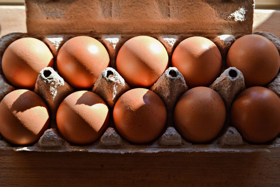 Carton of eggs Breakfast Bright Cooking Food And Drink Lights Raw Animal Egg Brown Close-up Day Egg Egg Carton Food Food And Drink Fragility Freshness Healthy Eating In A Row Indoors  Ingredient Large Group Of Objects No People Preparation  Raw Food Shadow