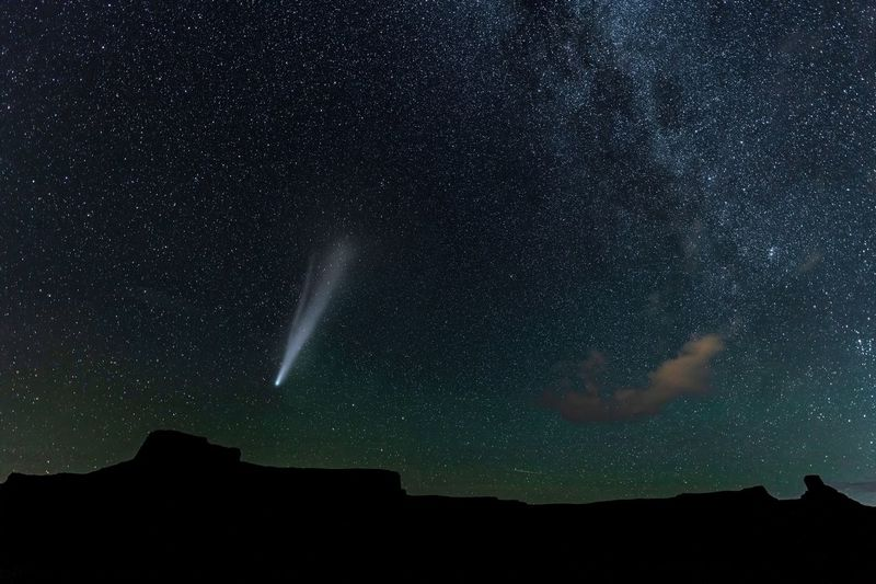 The comet neowise over mountains