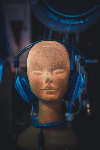 Headphones on bust
