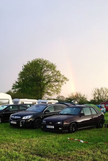Car Tree Transportation No People Land Vehicle Stationary Mode Of Transport Field Grass Day Outdoors Nature Rainbow Sky Opel Kadett Cabrio 16v