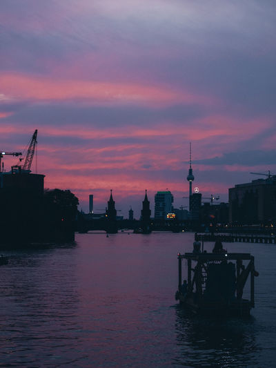 Berlin Architecture Berliner Ansichten Building Exterior Built Structure City Cloud - Sky Dusk Nature Nautical Vessel Outdoors Reflection River Silhouette Sky Sunset Transportation Water Waterfront #urbanana: The Urban Playground