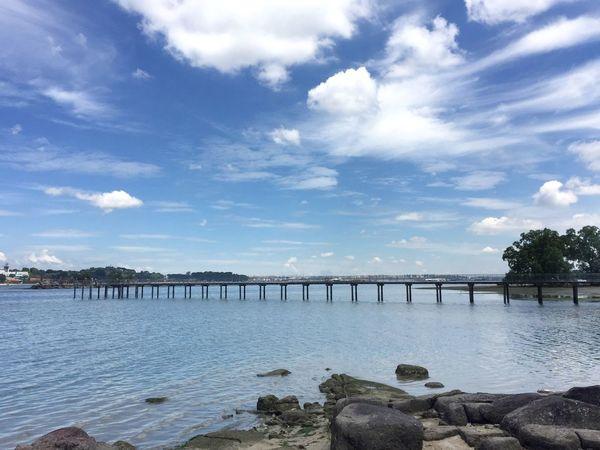 Beauty In Nature Bridge Cloud - Sky Nature Nparks Nparksbuzz Pulau Ubin Sea Sky Water