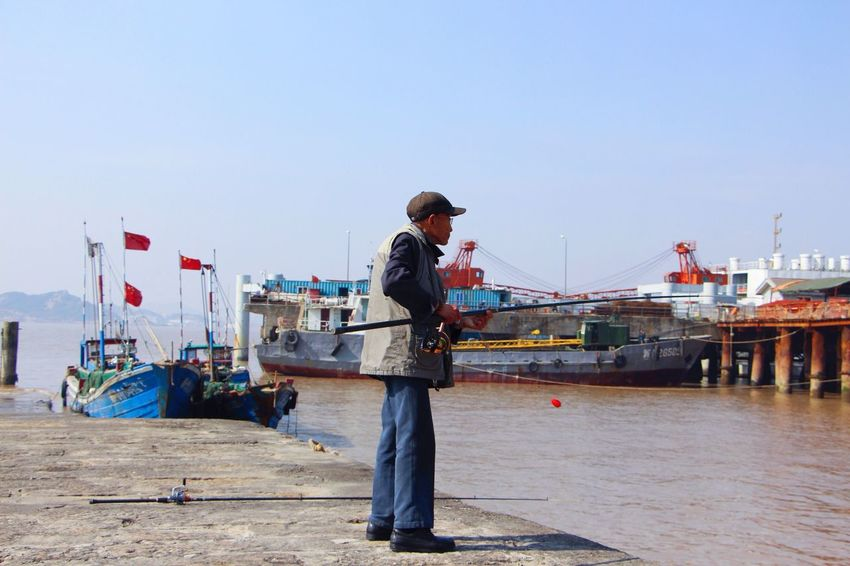 Standing Sky Real People Men Occupation Outdoors Day One Person Full Length Working Manual Worker Water People
