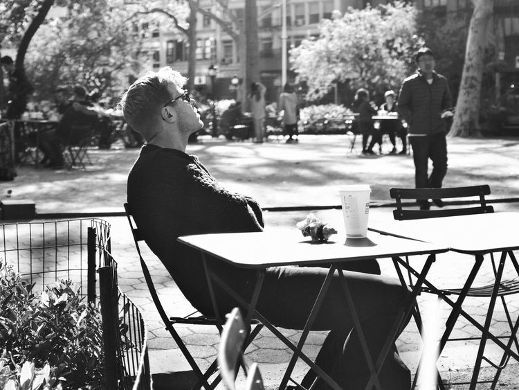 Morning sunbath in Madison Square Park in late October, New York. USA New York Madison Square Park  Morning Sunbath October Street Photography X100t Fujifilm Black And White Monochrome Photography