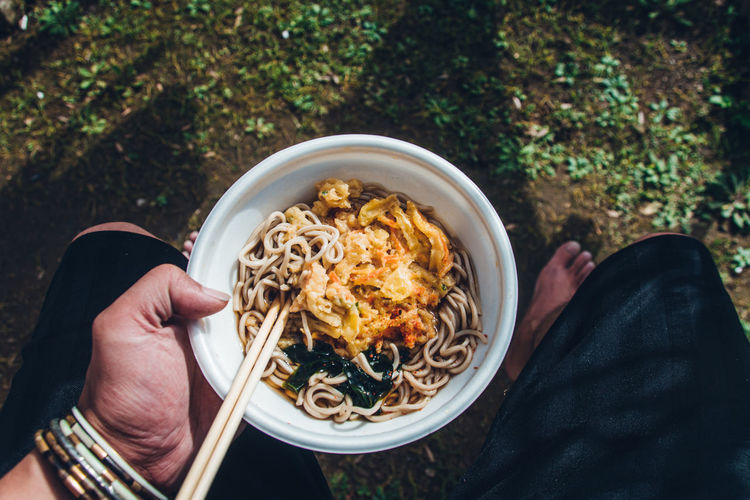 Eating soba noodles in the yard in japan / personal perspective
