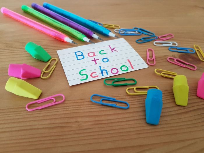 Back To School School Supplies Elementary Age Student Homework Classroom Teachers Teaching Learning School Year Colored Pencils Assortment Study Education Colorful Concept Erasers Kids Kindergarten Text Grade School EyeEm Selects Multi Colored Childhood Paper Clip Crayon Table Variation Close-up Colored Pencil