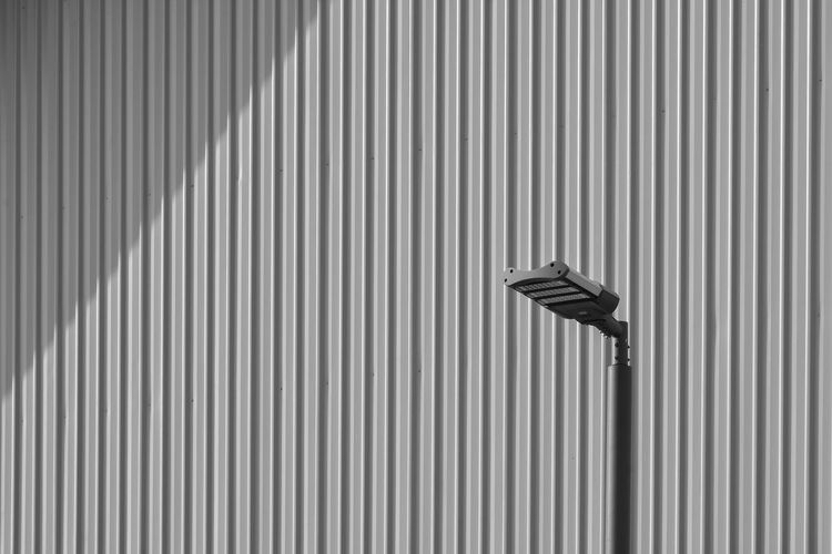 Street light by corrugated iron