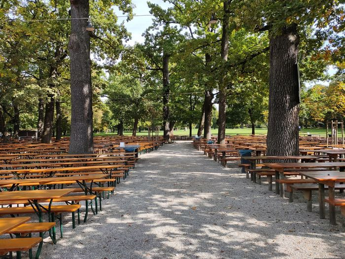 Empty benches and table in park
