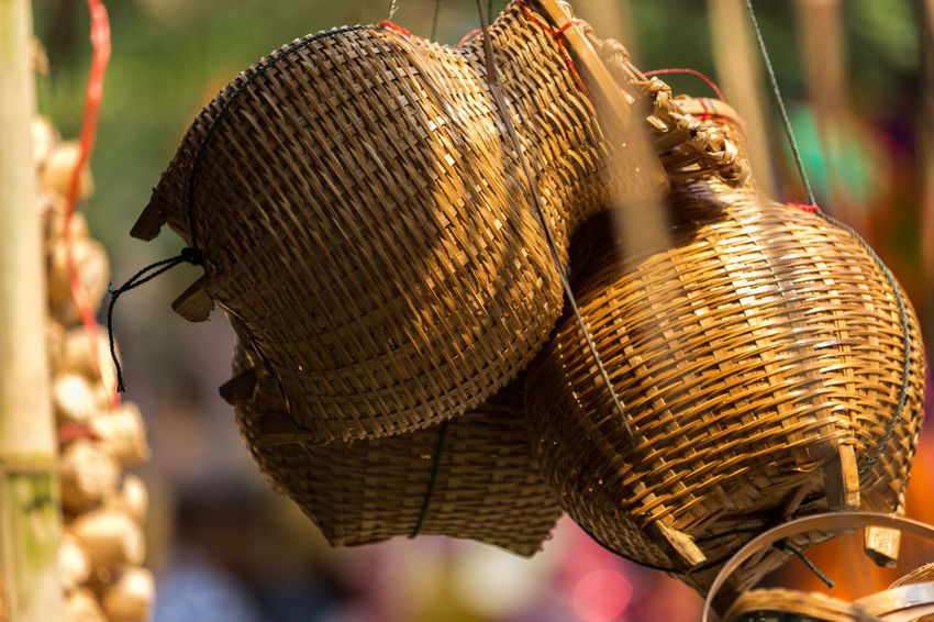 Basket Close-up Day Focus On Foreground Gold Colored Handicraft Handicraft Work No People Outdoors Weaving