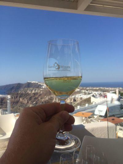 Just the best tasting experience on Santorini.... always book an 18 flight.... Santo Wines Santorini Santorini Santorini Island Wine Tasting Blue Sky Blue Sky And Wine